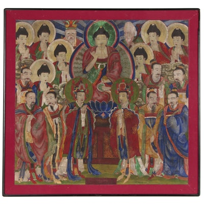 Korean Gouache Temple Painting of Jijang, the Bodhisattva of Hell