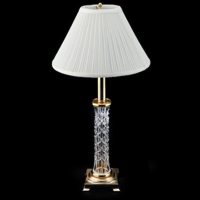 "Waterford Crystal ""Kinsale"" Brass and Crystal Table Lamp, Late 20th Century"