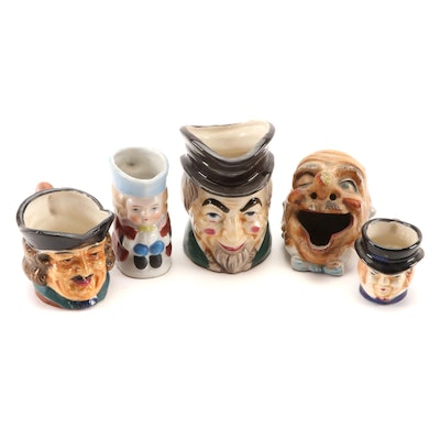 Japanese Winking Eye Cigar Ashtray and Character Jugs, Mid 20th Century