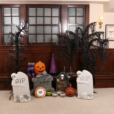Halloween Décor Featuring Frontgate Spooky Weeping Willow Lighted Tree