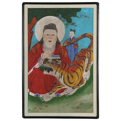 Korean Gouache Painting of San-shin Mountain Spirit