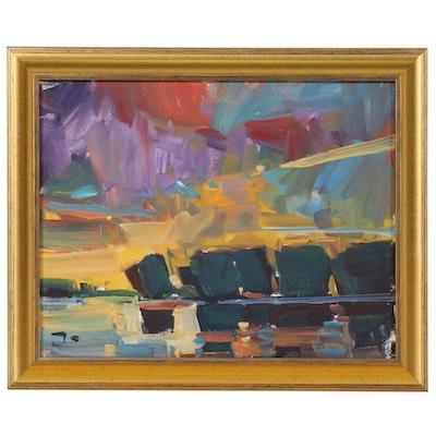 "Jose Trujillo Oil Painting ""Sunset Lake"", 2019"