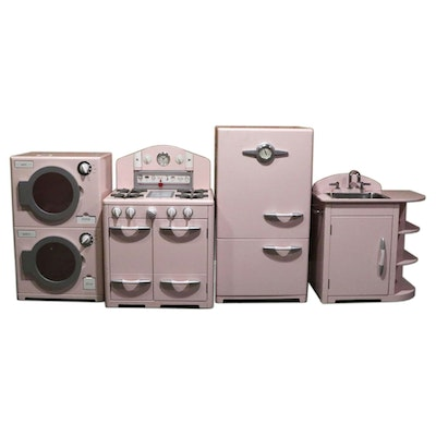 """Pottery Barn Kids """"Retro"""" Kitchen and House Pretend Play Set in Pink"""