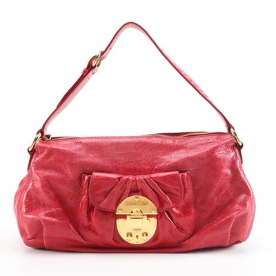 Miu Miu Vitello Vintage Collection Red Leather Front Pocket Tote