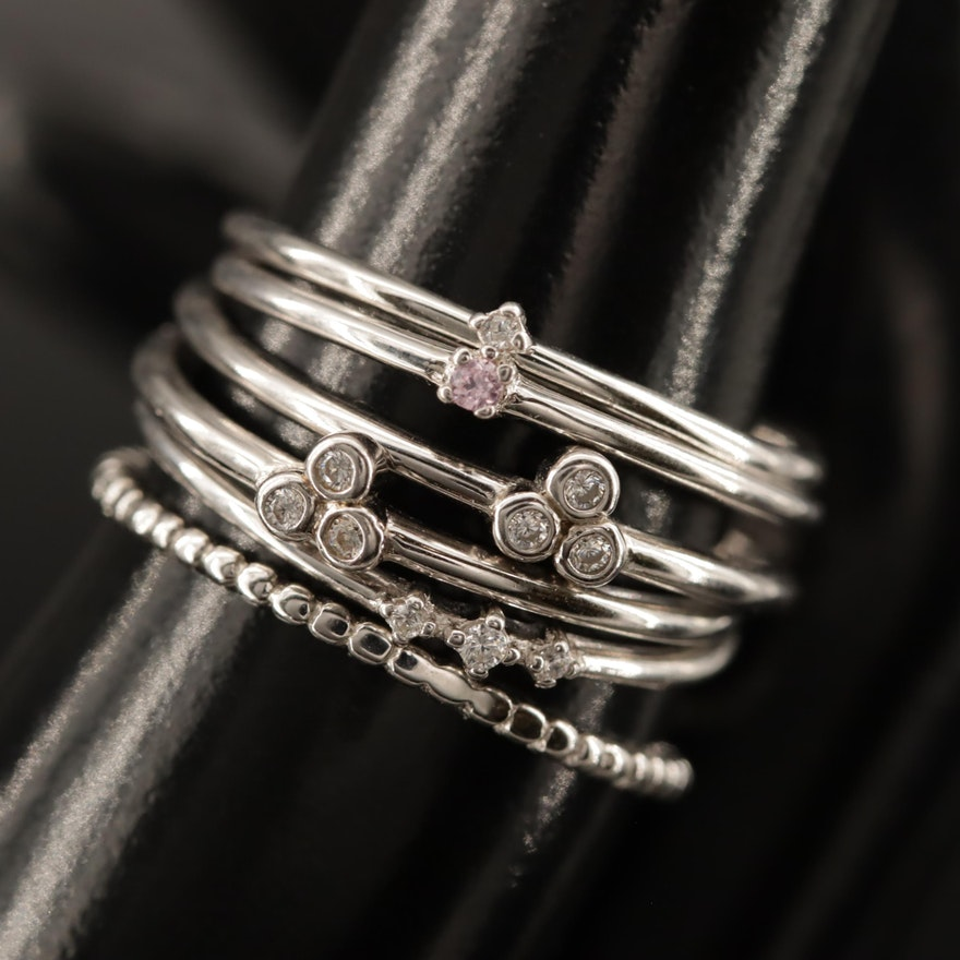 Sterling Silver Stackable Bands with Cubic Zirconia