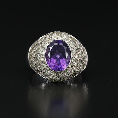 Sterling Amethyst and Prasiolite Dome Ring