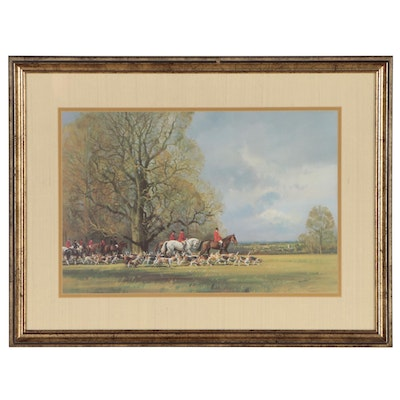 "Frank Wootton Offset Lithograph ""Huntsmen and Hounds"""