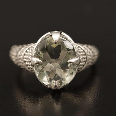 Sterling Silver Prasiolite Textured Ring