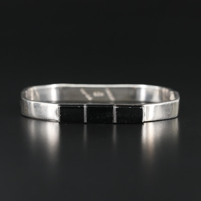 Mexican Sterling Silver Inlay Bangle