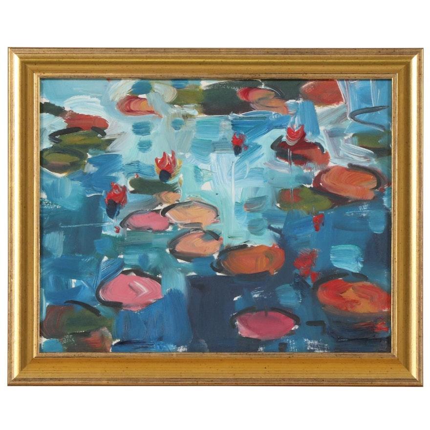 "Jose Trujillo Oil Painting ""Waterlilies"", 2019"