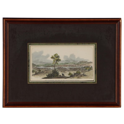 "Hand-Colored Wood Engraving ""View of Cincinnati, Ohio"", Mid-19th Century"