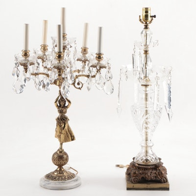 Victorian Style Cut Crystal Prism and Figural Brass Candelabra Table Lamps