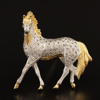 Sterling Silver Horse Brooch Featuring Fancy Color Sapphires