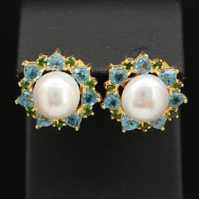 Sterling Silver Pearl Earrings with Blue Topaz and Diopside Accents