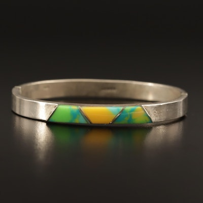 Mexican Sterling Silver Inlay Hinged Bangle
