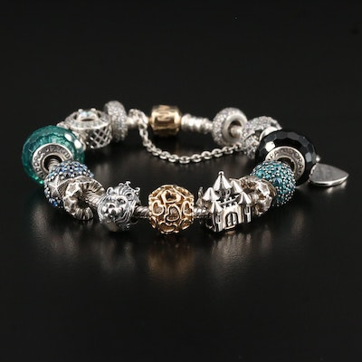 Pandora Sterling Silver Charm Bracelet with 14K and Murano Glass