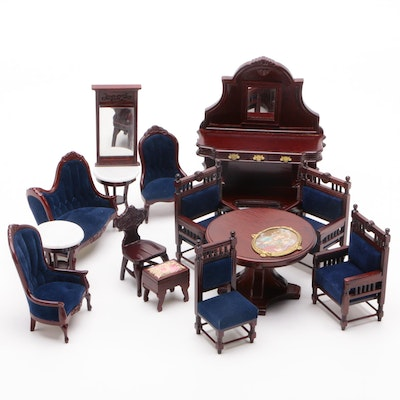 """Diana"" Victorian Style Doll Furniture Including Tables, Chairs and Buffet"