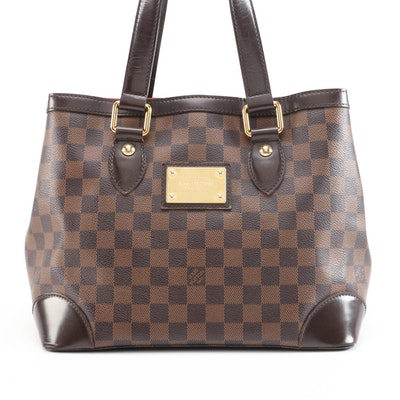 Louis Vuitton Hampstead PM Tote in Damier Canvas and Smooth Leather