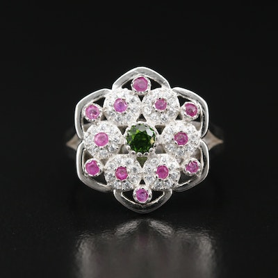 Sterling Silver Diopside, Ruby, and Cubic Zirconia Ring
