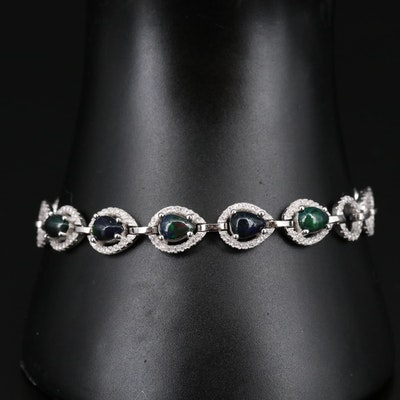 Sterling Silver Opal and Cubic Zirconia Bracelet