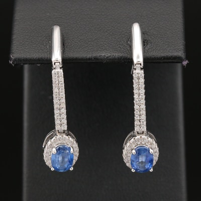 Sterling Kyanite and Cubic Zirconia Drop Earrings