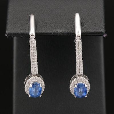 Sterling Kyanite and Cubic Zirconia Drop Earrings