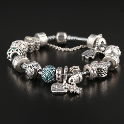 "Pandora Sterling Charm Bracelet with ""You Keep Me Warm"" Charm and 14K Accents"