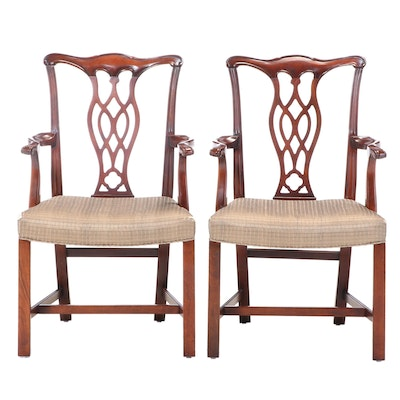 Pair of Chippendale Style Cherrywood Armchairs