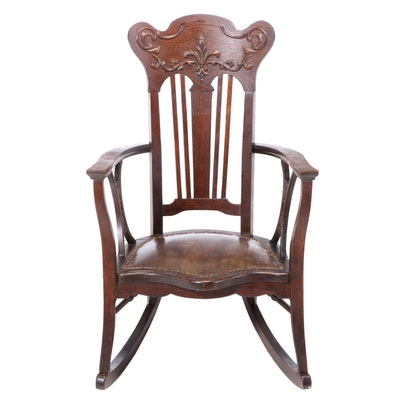 Late Victorian Oak Rocking Armchair, Late 19th/Early 20th Century