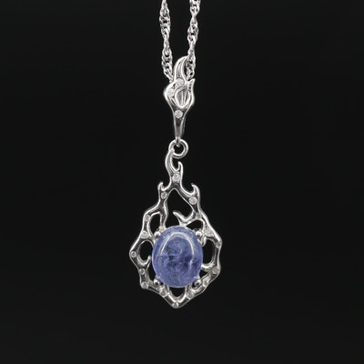 Sterling Tanzanite and Cubic Zirconia Pendant on Singapore Chain