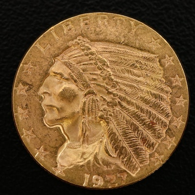 1927 Indian Head $2 1/2 Dollar Gold Coin