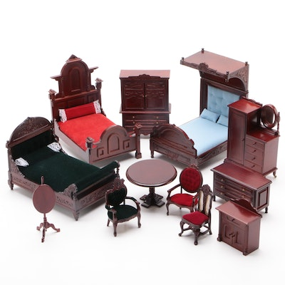 """Diana"" Victorian Style Doll Furniture Including Beds, Tables, Chairs and Other"