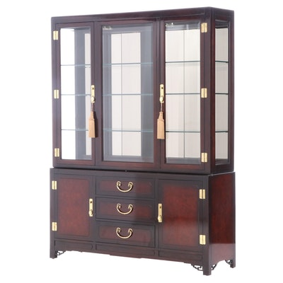 White of Mebane Asian Inspired Lacquered China Cabinet, Late 20th Century