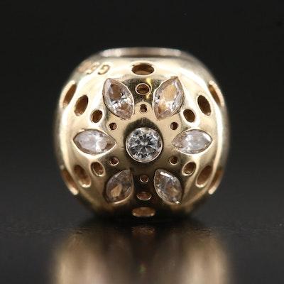 "Pandora 14K Cubic Zirconia ""Sparkling Bloom"" Bead Pendant"