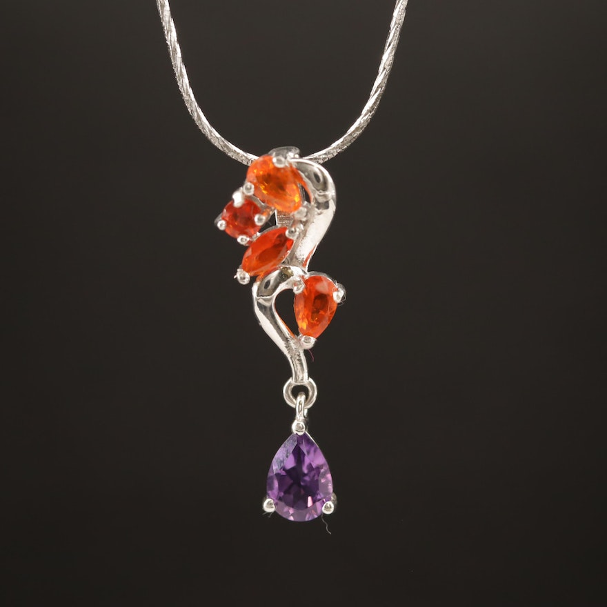 Sterling Silver Fire Opal and Amethyst Necklace