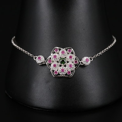 Sterling Diopside, Ruby and Cubic Zirconia Floral Bracelet