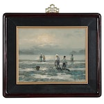 C.S. Yun Coastal Landscape Oil Painting of Clam Diggers