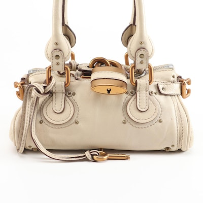 Chloé Paddington Lock Mini Satchel in Beige Leather