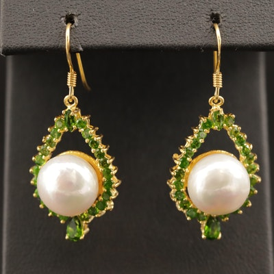 Sterling Silver Pearl and Chrome Diopside Earrings