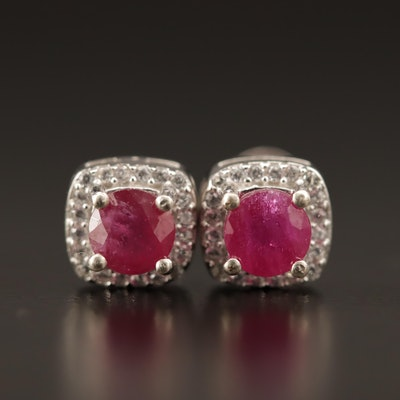 Sterling Silver Corundum Stud Earrings with Cubic Zirconia Halo