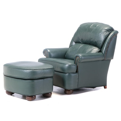 The Barcalounger Company Green Leather Reclining Armchair and Ottoman