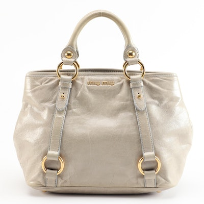 Miu Miu Vitello Gray Grained Leather Two-Way Satchel