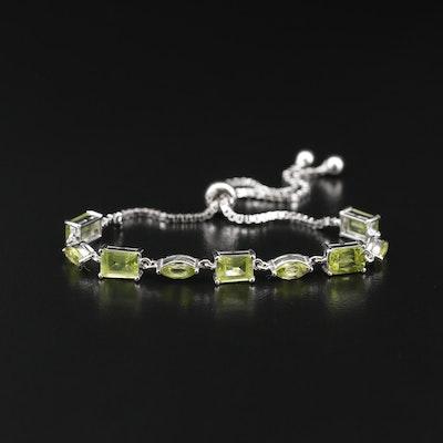 Sterling Silver Peridot Bolo Bracelet