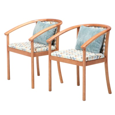 Pair of Modernist Style Hard Curly Maple Armchairs