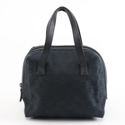 Gucci GG Canvas and Leather Trimmed Demi Satchel in Black