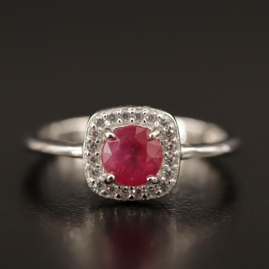 Sterling Silver, Corundum and Cubic Zirconia Ring