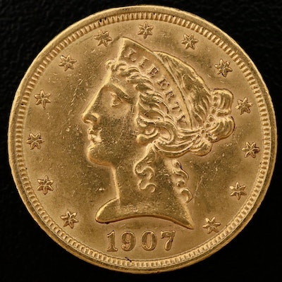 1907 Liberty Head $5 Half Eagle Gold Coin