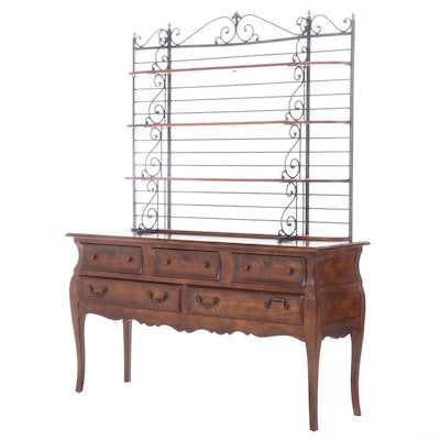 Henredon Mixed Wood Sideboard with Scrolled Metal Hutch