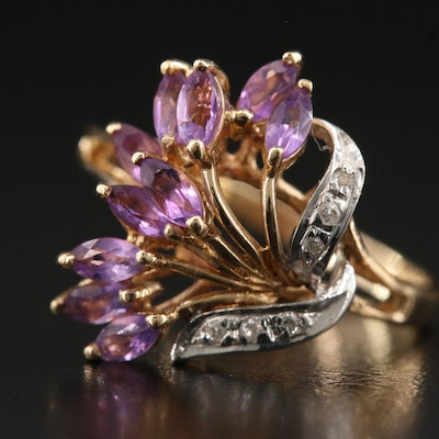 10K Amethyst and Diamond Floral Spray Ring with White Gold Accent