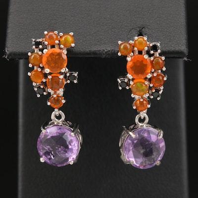 Sterling Amethyst, Opal and Black Onyx Cluster Drop Earrings